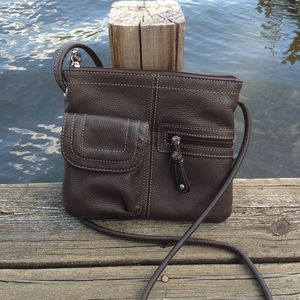 Clarks Brown Leather Multi-Pocket Crossbody Purse